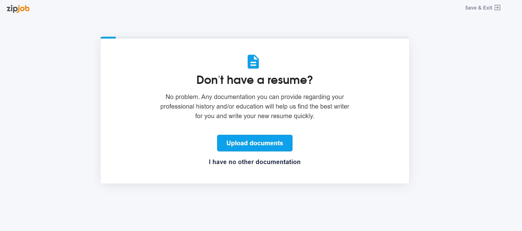 Zipjob don't have a resume