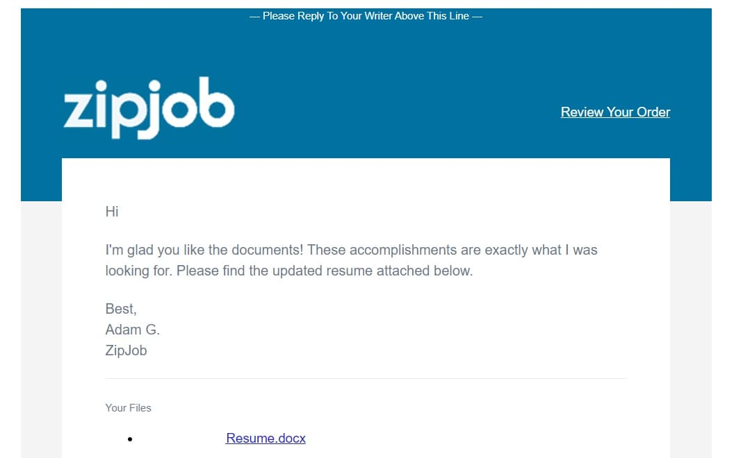 zipjob resume is ready