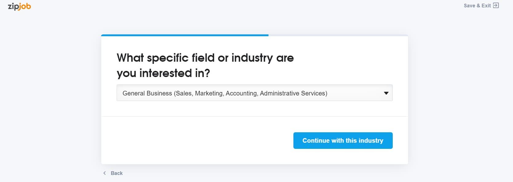 zipjob specific industry